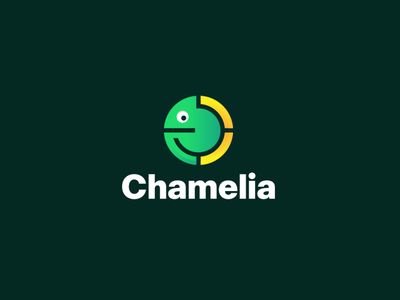 Chamelia modern logo icon design colorful app website applications apps mobile software negativespace dualmeaning combinationlogo combination logotype monogram clogo chameleonlogo chameleon