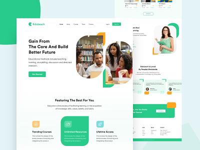 Edutech Landing Page uibin website design webuiuxdesign webui typogaphy ux mobile ui minimalism landing page design app ios design branding edutech education 2020