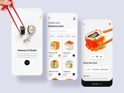 Sushi app concept ios app app design app ui business ecommerce food app ui food app food uibin mobile ios app 2020 ux ui minimalism design branding