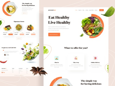 KITCHENOO || Landing Page Exploration online shop restaurant food illustration food mobile ios landing page design app 2020 ux ui minimalism design branding