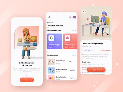 Job Finder App Conceptual Design 2021 trend 2021 typography colors clean ui ios app app design product design product business freelance job search job finder ios minimalism branding app ux ui design