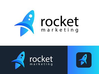 rocket marketing marketing collateral marketplace smart recent logo marketing agency marketing site market rocket illustraion smart logo business company branding brand identity