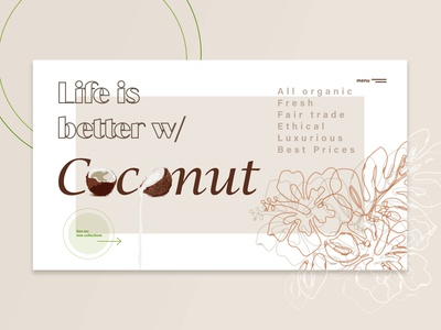 Coconut Website minimalistic graphic design ux design ui design ux ui vector logo minimal graphic art branding artwork art illustration design