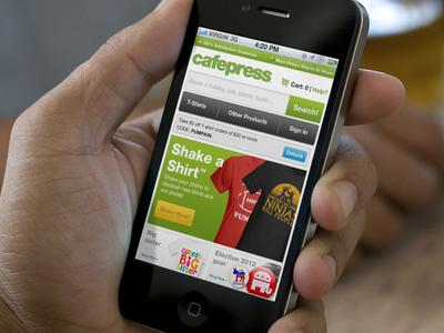 Cafepress Mobile Homepage