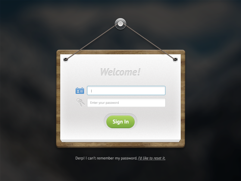 Login Form PSD login form psd freebie resource download hanging skeuomorphism