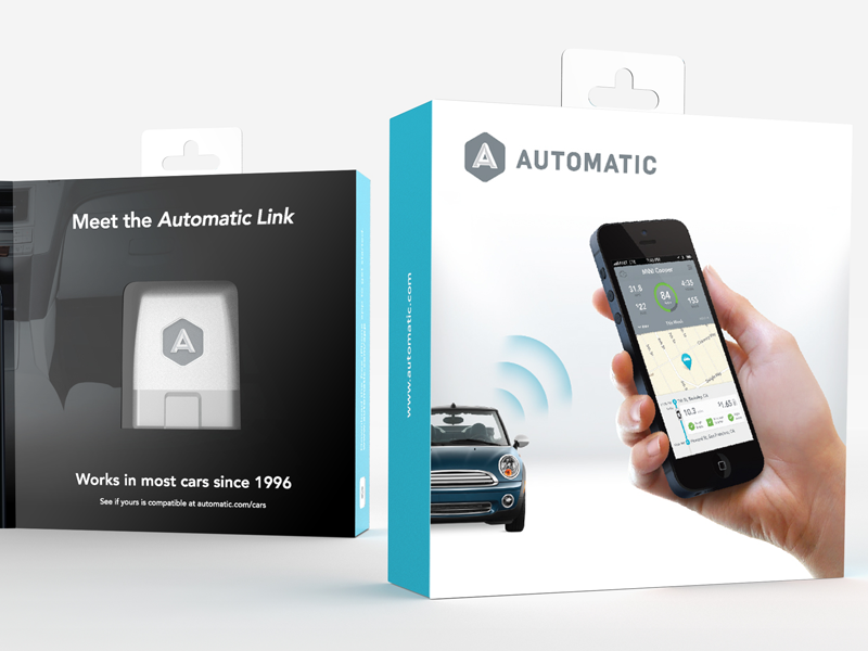 Automatic Package Design automatic smart driving assistant link branding package packaging box iphone hand