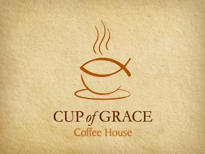 Cup of Grace david fish jesus coffee logo just for fun