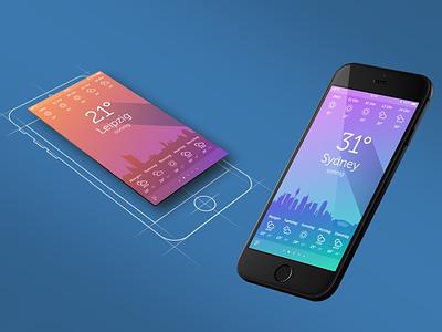 Weather App UI prototype wheather iphone screen photoshop adobe xd app ux ui design