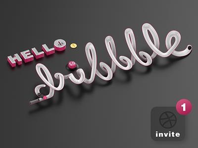 Hello Dribbble graphicdesign game dark creative c4d art ui design photoshop ux illustration hellodribbble hello invitation invite dribbble dribbble invite player giveaway