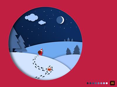 Santa beats Corona! design papercut winter corona christmas art vector creative adobe illustrator illustration