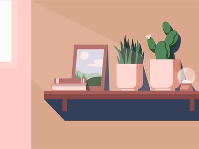Shelf in the light beam pastel color pastel shadows plants beam indoor interior books photo light design illustrator illustration cactus shelf