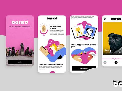 Bark'd - A dating app for dog owners app design dating dictation illustration