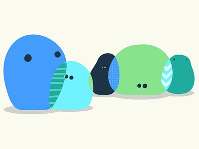 Pattern Peeps overlap cute pattern blob flat character design character concept character design illustration creature