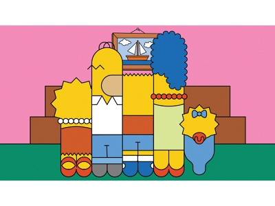 Simpsons Reduction haldeen reduction cartoon marge maggie homer lisa bart character grid promo fxx simpsons design illustration