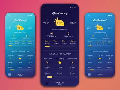 Weekly Warmup - March 29 2021 - Weather App Concept app concept weather app ui design app design weekly warmup dribbbleweeklywarmup
