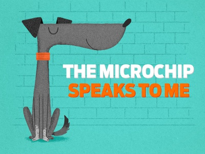 Chip & Microchip dog illustration advertising drawing character