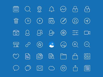 45 Blue Drops pack resource pakistan icons line stroke ios7 freebie apps ipad iphone