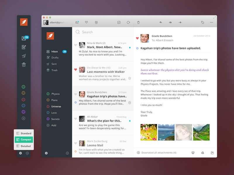 Leemo Mail ux ui app osx mail client albert email mac icons