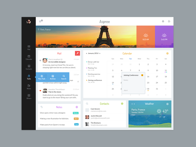 Aspree pakistan management landing ux ui web app dashboard mail notes contacts icons