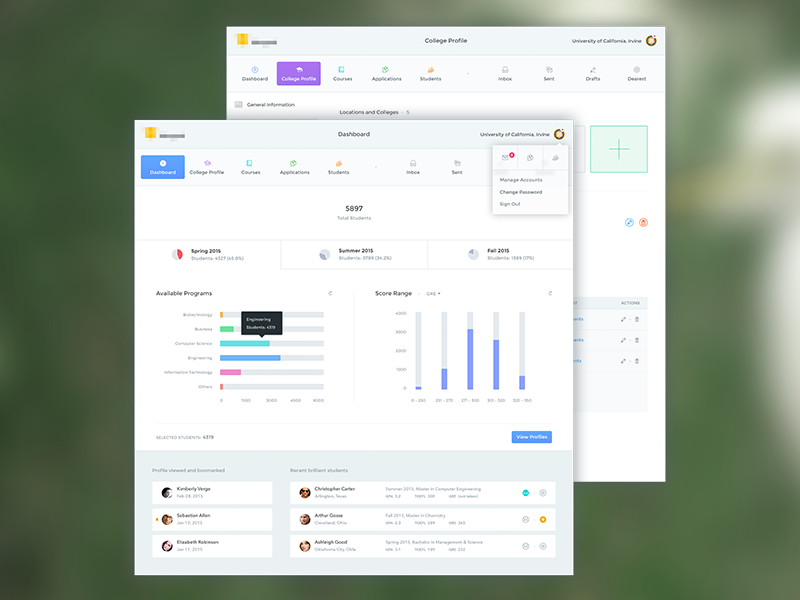 Universities and Students ux ui dashboard webapp clean students universities education