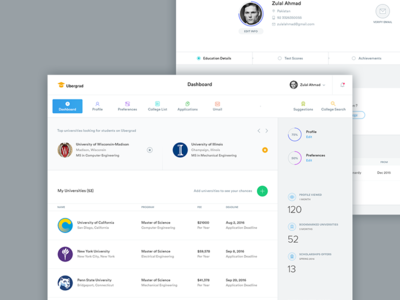 Ubergrad Student Phase college clean education universities students dashboard ui ux