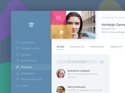 Ubergrad Students Page dashboard universities students education ux ui