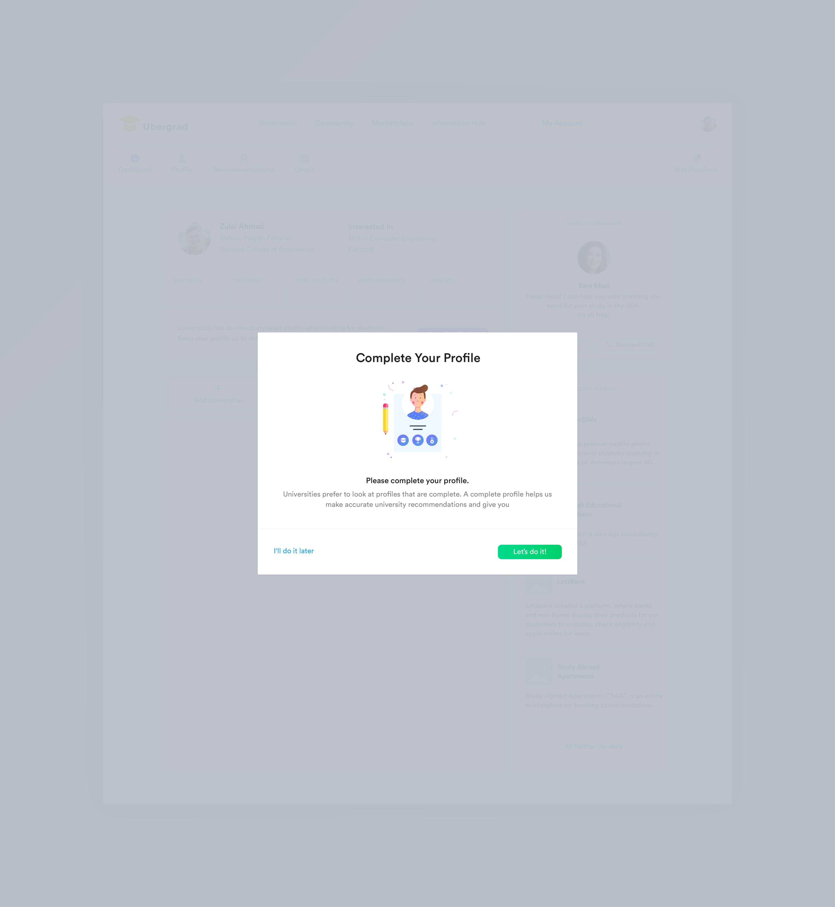 Dashboard complete your profile