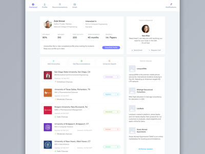 Ubergrad Student Phase Post-Login college profile dashboard universities educations students ui ux