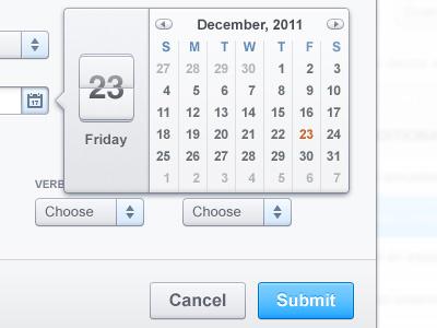 Enter a score web ui ux buttons interface drop-down calendar date flipper app