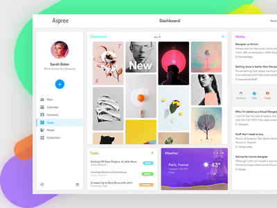 Aspree v2 clean tasks bookmark mail dashboard ui ux