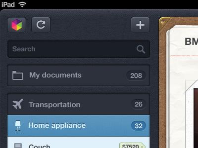 Getbelongings ipad app ipad ux ui menu app receipt clip stitches textures navigation ios