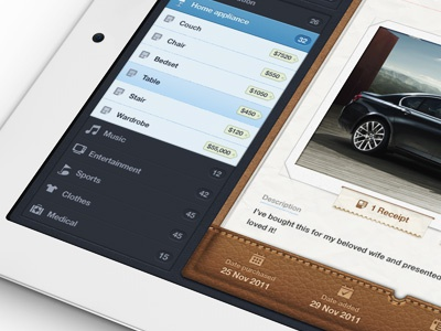 Getbelongings ipad app ipad ux ui papers pad app receipt leather stitches textures ios stack