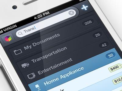 Getbelongings iphone app ux ui app ios iphone popup textures receipt