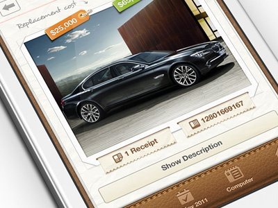 Getbelongings iphone app iphone ios ux ui receipt tags leather texture stitches app paper