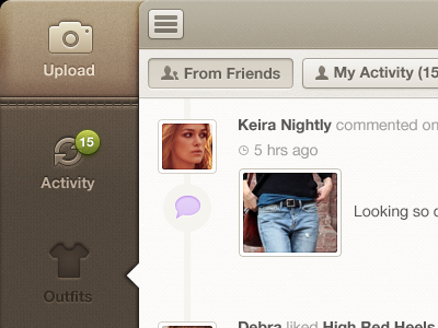 Retina FF Brown/Pink notification fabric brown ux ui ios app ipad fashion textured buttons pink activity