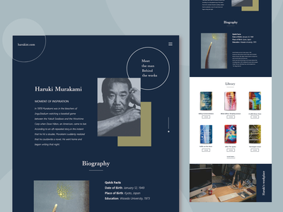 Landing page part2 portfolio haruki murakami ui fan page web design daily ui landing page