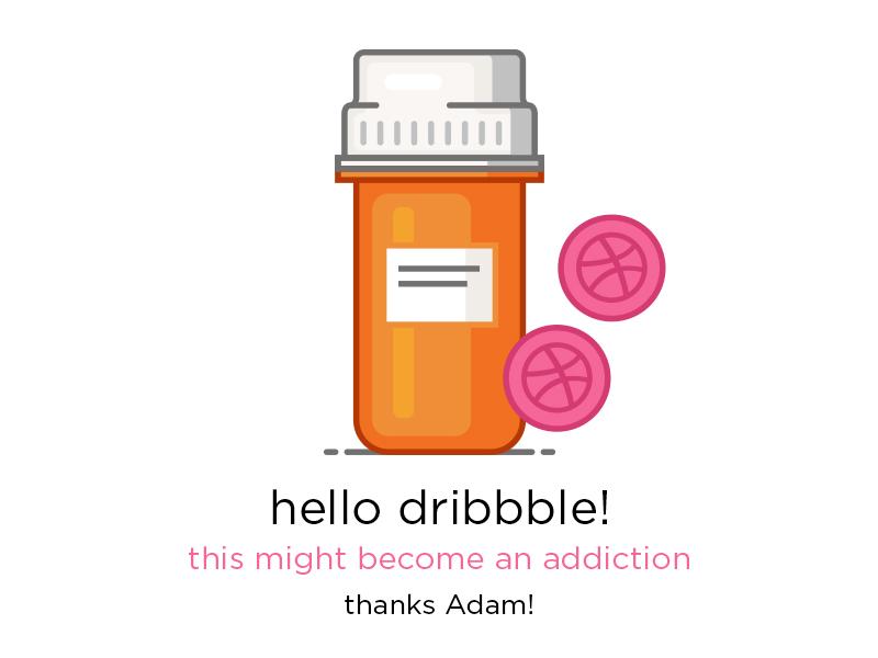 Hello dribbble rx pills prescription addiction addict icon