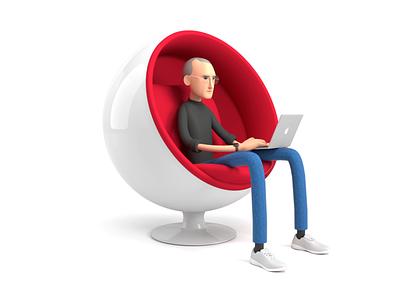 Steve Jobs in Ball Chair animation 3d ilustration 3d animation ball chair steve jobs