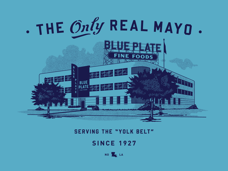 Blue Plate louisiana mayo building script branding vintage retro illustration texture typography