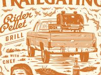 Rider Pellet grill bbq script branding vintage retro illustration texture typography