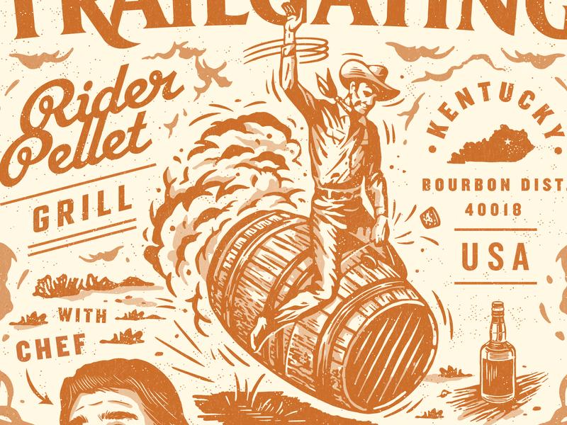 Rider Pellet 2 bourbon poster brand bbq badge branding vintage retro illustration texture typography