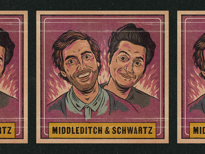 Middleditch & Schwartz pulp card procreate netflix vintage illustration retro texture typography