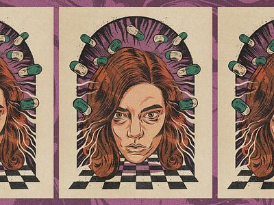 The Queen's Gambit print poster thequeensgambit netflix comic art vintage illustration retro texture