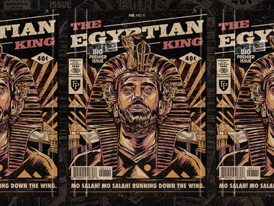 The Egyptian King retro liverpool football soccer comic art vintage illustration texture
