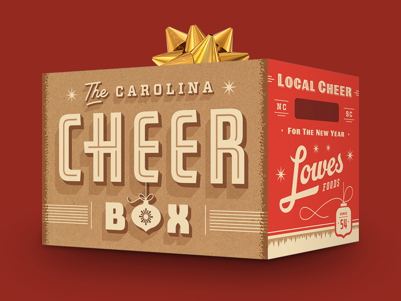 The Carolina Cheer Box lowes foods packaging matthew cook retro christmas holiday lettering typography