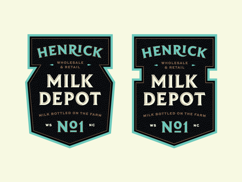 Henrick Milk Depot farm milk matthew cook blue black gold retro typography badge
