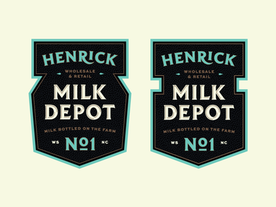 Henrick Milk Depot farm milk matthew cook blue black gold retro typography badge