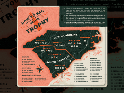 Beer Hunting Season south carolina north carolina forest woods bottle the variable map hunting retro vintage beer field guide