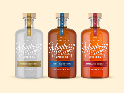 Mayberry Spirit Co branding beer retro vintage typography type packaging bourbon whiskey