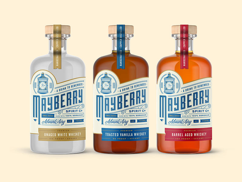 Mayberry Spirit Co 2 alcohol whiskey vintage typography type retro packaging branding bourbon beer